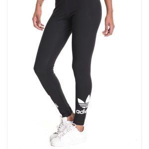 Adidas Leggings - Black with White Logo on Sides